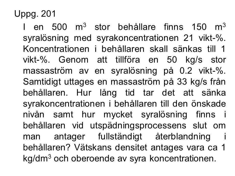Uppg. 201 I en 500 m 3 stor behållare finns 150 m 3 syralösning med syrakoncentrationen 21 vikt-%.