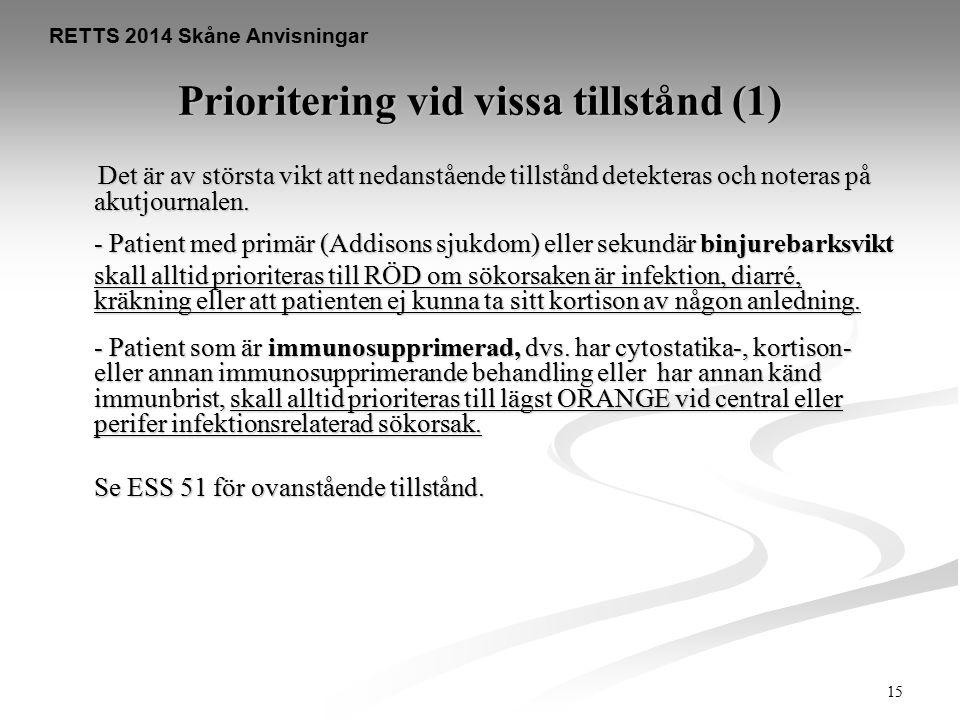 15 RETTS 2014 Skåne Anvisningar Prioritering vid vissa tillstånd (1) Det är av största vikt att nedanstående tillstånd detekteras och noteras på akutj