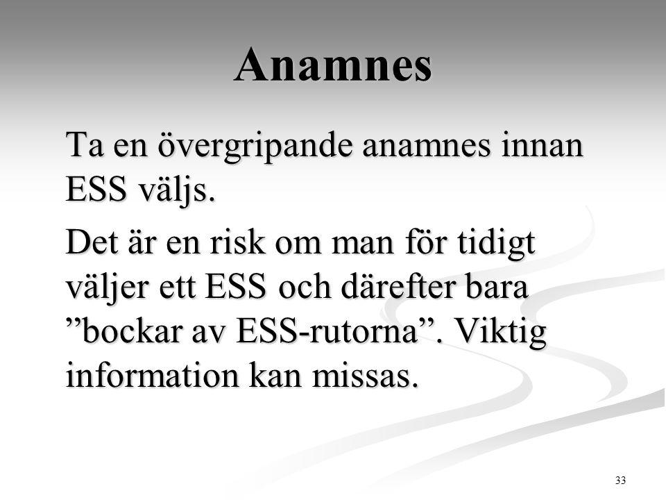 """33 Anamnes Ta en övergripande anamnes innan ESS väljs. Det är en risk om man för tidigt väljer ett ESS och därefter bara """"bockar av ESS-rutorna"""". Vikt"""