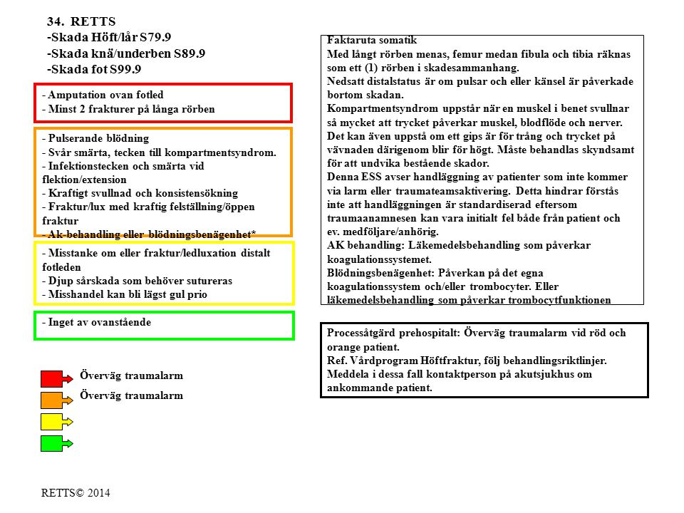 RETTS© 2014 - Pulserande blödning - Svår smärta, tecken till kompartmentsyndrom. - Infektionstecken och smärta vid flektion/extension - Kraftigt svull