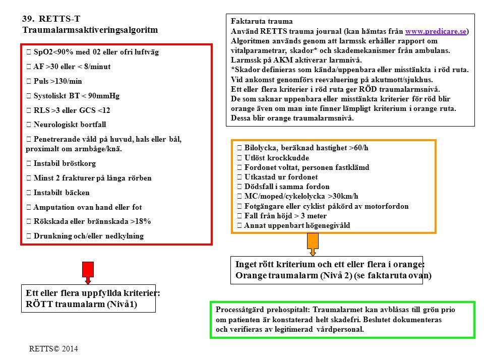 RETTS© 2014  SpO2<90% med 02 eller ofri luftväg  AF >30 eller < 8/minut  Puls >130/min  Systoliskt BT < 90mmHg  RLS >3 eller GCS <12  Neurologis