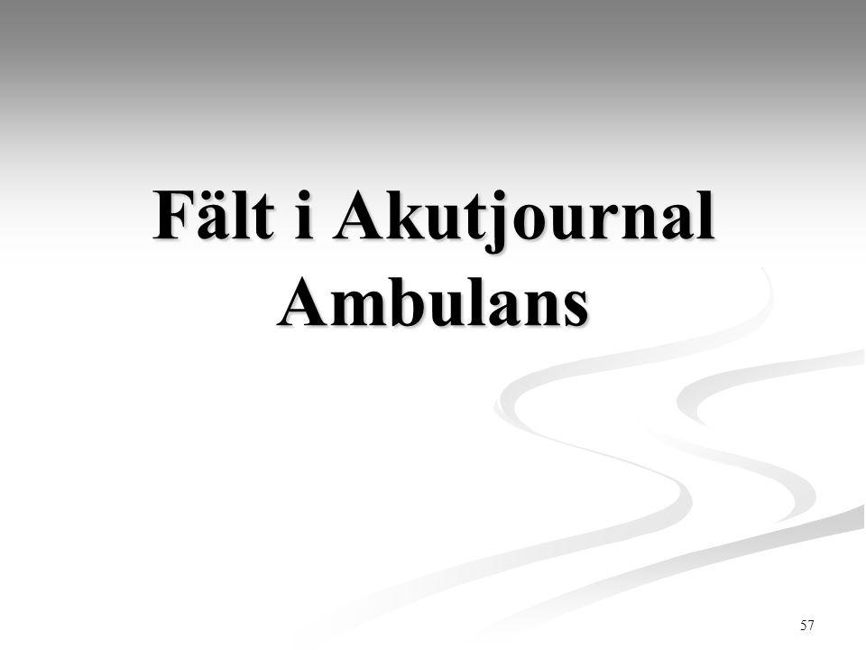 57 Fält i Akutjournal Ambulans