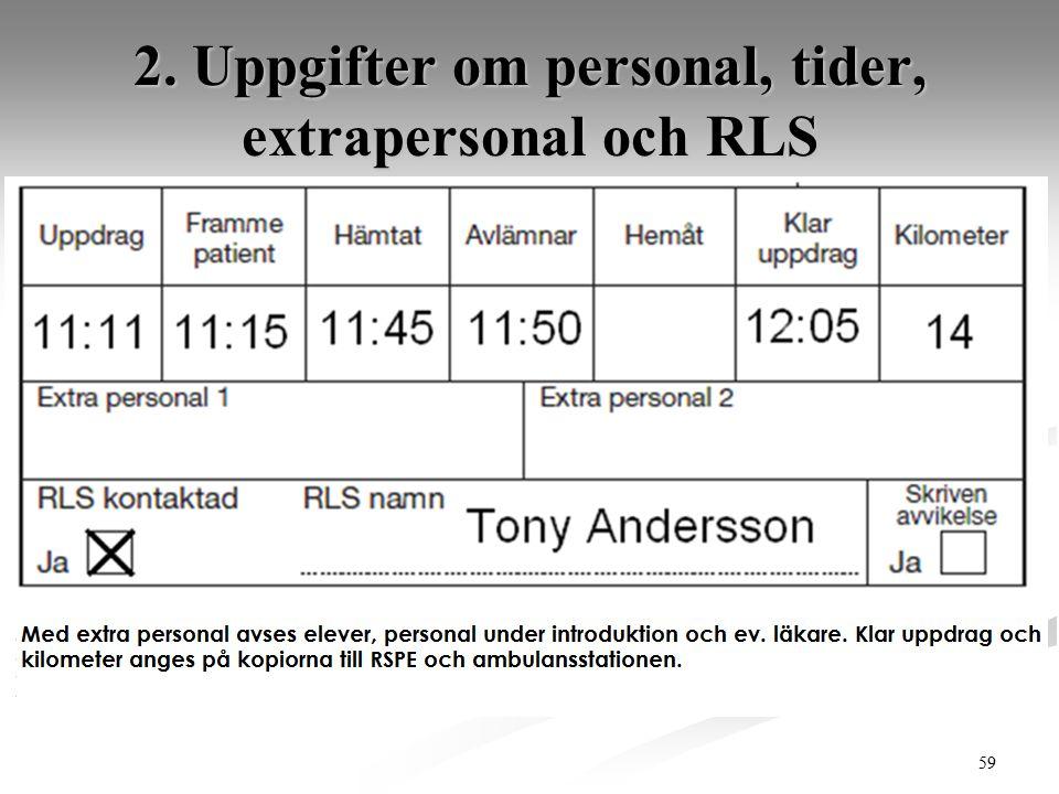59 2. Uppgifter om personal, tider, extrapersonal och RLS