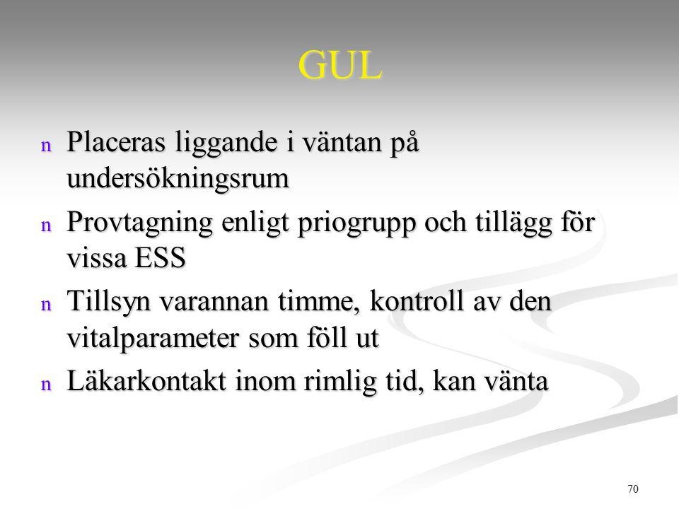 70 GUL n Placeras liggande i väntan på undersökningsrum n Provtagning enligt priogrupp och tillägg för vissa ESS n Tillsyn varannan timme, kontroll av