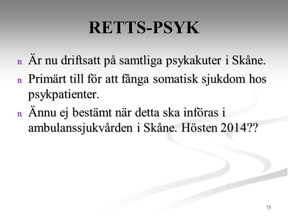 73 RETTS-PSYK n Är nu driftsatt på samtliga psykakuter i Skåne. n Primärt till för att fånga somatisk sjukdom hos psykpatienter. n Ännu ej bestämt när