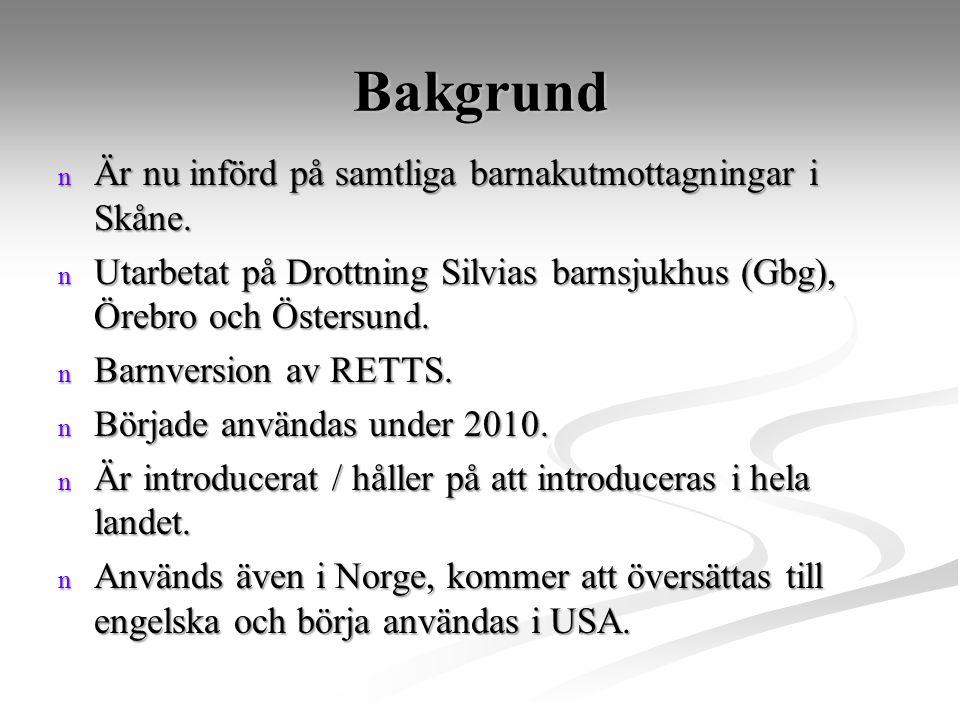 Bakgrund n Är nu införd på samtliga barnakutmottagningar i Skåne. n Utarbetat på Drottning Silvias barnsjukhus (Gbg), Örebro och Östersund. n Barnvers