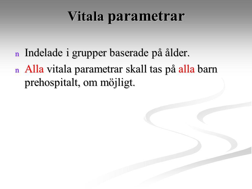 Vitala parametrar n Indelade i grupper baserade på ålder. n Alla vitala parametrar skall tas på alla barn prehospitalt, om möjligt.