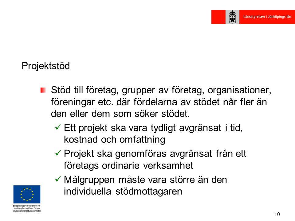 10 Projektstöd Stöd till företag, grupper av företag, organisationer, föreningar etc.