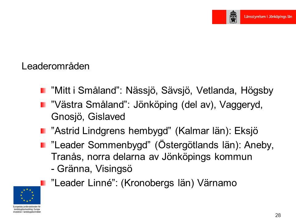 28 Leaderområden Mitt i Småland : Nässjö, Sävsjö, Vetlanda, Högsby Västra Småland : Jönköping (del av), Vaggeryd, Gnosjö, Gislaved Astrid Lindgrens hembygd (Kalmar län): Eksjö Leader Sommenbygd (Östergötlands län): Aneby, Tranås, norra delarna av Jönköpings kommun - Gränna, Visingsö Leader Linné : (Kronobergs län) Värnamo