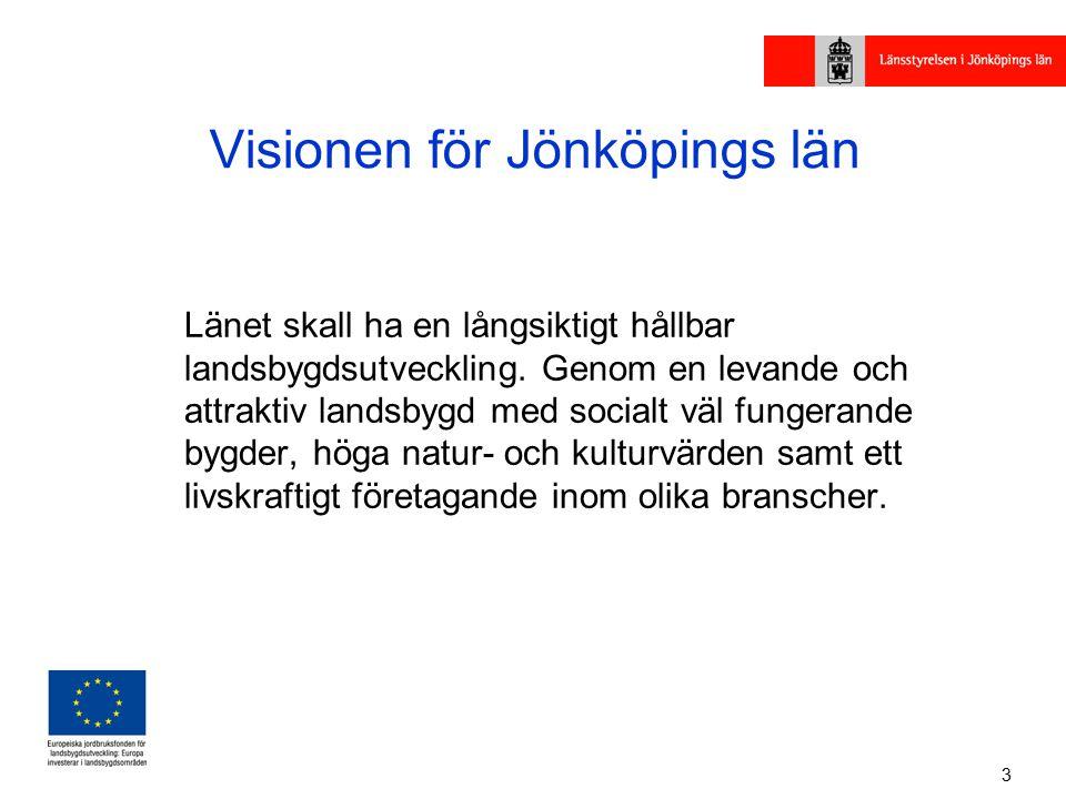 3 Visionen för Jönköpings län Länet skall ha en långsiktigt hållbar landsbygdsutveckling.