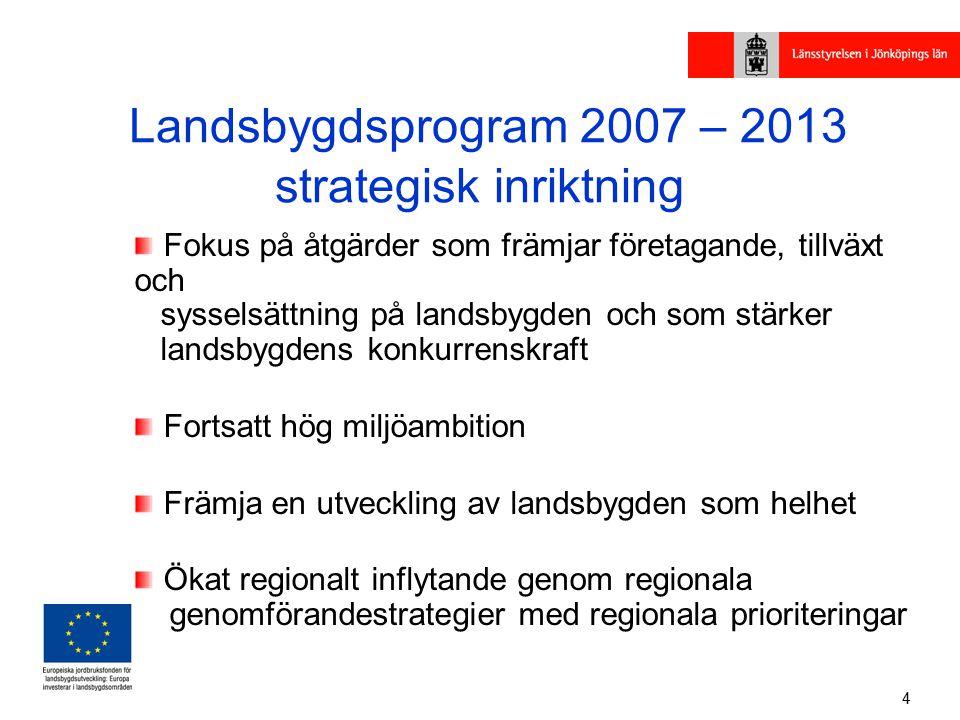 4 Landsbygdsprogram 2007 – 2013 strategisk inriktning Fokus på åtgärder som främjar företagande, tillväxt och sysselsättning på landsbygden och som stärker landsbygdens konkurrenskraft Fortsatt hög miljöambition Främja en utveckling av landsbygden som helhet Ökat regionalt inflytande genom regionala genomförandestrategier med regionala prioriteringar