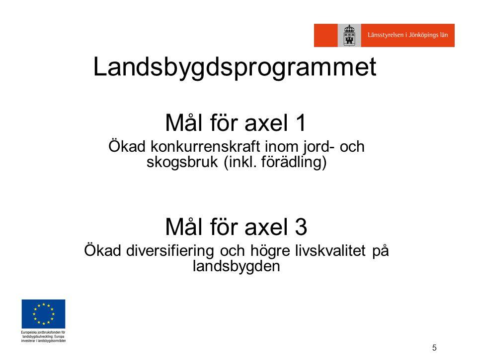 5 Landsbygdsprogrammet Mål för axel 1 Ökad konkurrenskraft inom jord- och skogsbruk (inkl.