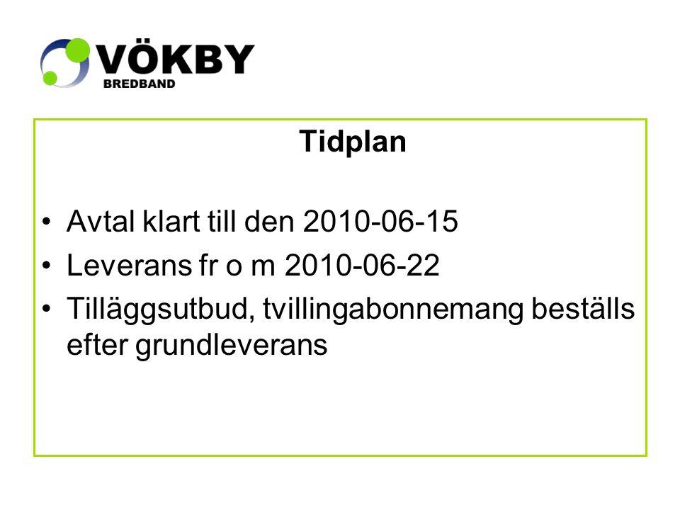 Tidplan Avtal klart till den 2010-06-15 Leverans fr o m 2010-06-22 Tilläggsutbud, tvillingabonnemang beställs efter grundleverans