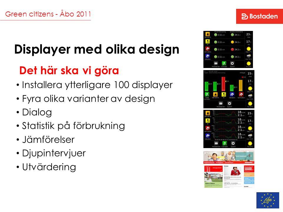 Green citizens - Åbo 2011 Displayer med olika design Det här ska vi göra Installera ytterligare 100 displayer Fyra olika varianter av design Dialog St