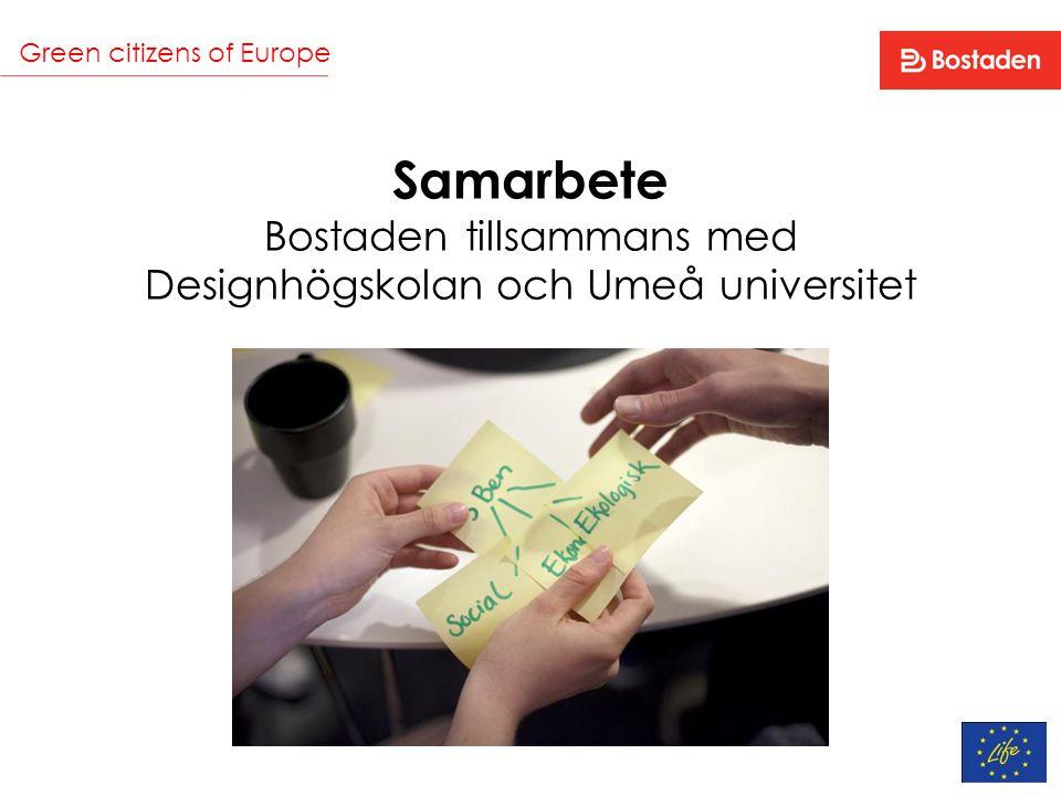 Green citizens of Europe Samarbete Bostaden tillsammans med Designhögskolan och Umeå universitet