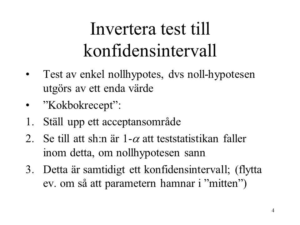 4 Invertera test till konfidensintervall Test av enkel nollhypotes, dvs noll-hypotesen utgörs av ett enda värde Kokbokrecept : 1.Ställ upp ett acceptansområde 2.Se till att sh:n är 1-  att teststatistikan faller inom detta, om nollhypotesen sann 3.Detta är samtidigt ett konfidensintervall; (flytta ev.