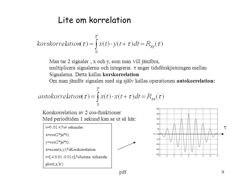 pdf10 Man ser på fig sid 9 att korrelationen har max för  = 0, vilket ju är rimligt, Eftersom man jämför 2 identiska signaler.