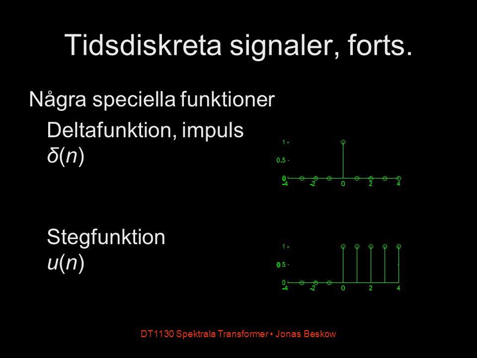 DT1130 Spektrala Transformer Jonas Beskow Tidsdiskreta signaler, forts. Några speciella funktioner Deltafunktion, impuls δ(n) Stegfunktion u(n)