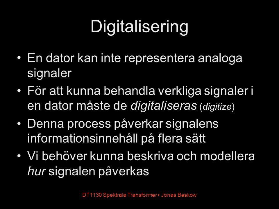 DT1130 Spektrala Transformer Jonas Beskow Digitalisering (forts.) Digitaliseringen påverkar signalen på två sätt: genom sampling och kvantisering Analog signal Sampling Kvantisering (A/D-omvandling) Digital signal