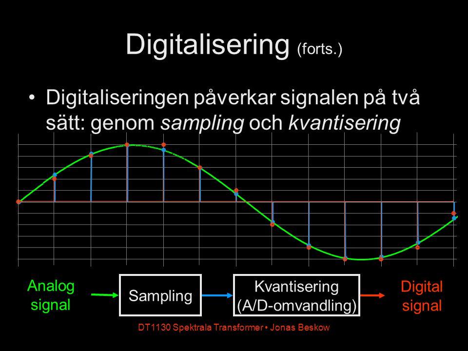 DT1130 Spektrala Transformer Jonas Beskow Digitalisering (forts.) Digitaliseringen påverkar signalen på två sätt: genom sampling och kvantisering Anal