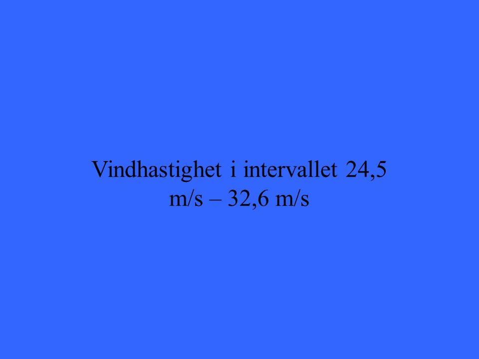 Vindhastighet i intervallet 24,5 m/s – 32,6 m/s