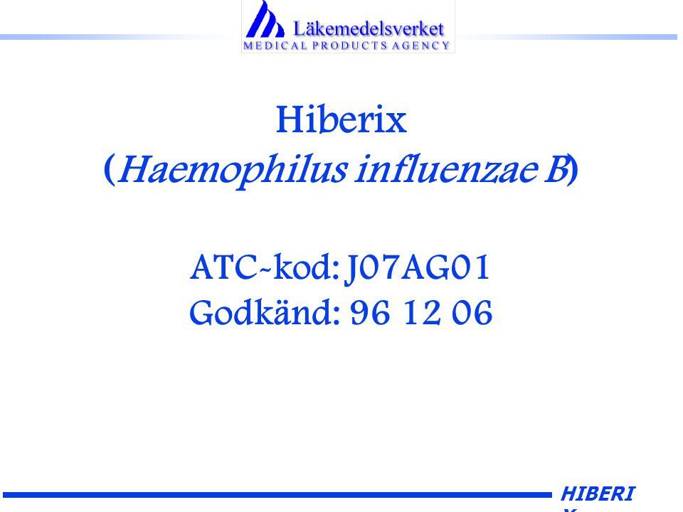 HIBERI X Hiberix (Haemophilus influenzae B) ATC-kod: J07AG01 Godkänd: 96 12 06
