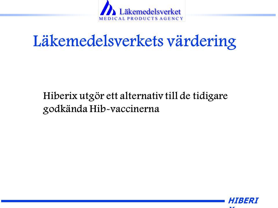 HIBERI X Läkemedelsverkets värdering Hiberix utgör ett alternativ till de tidigare godkända Hib-vaccinerna