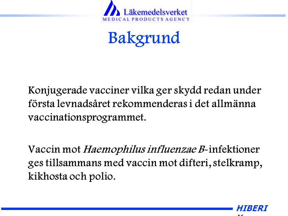 HIBERI X Bakgrund Konjugerade vacciner vilka ger skydd redan under första levnadsåret rekommenderas i det allmänna vaccinationsprogrammet.