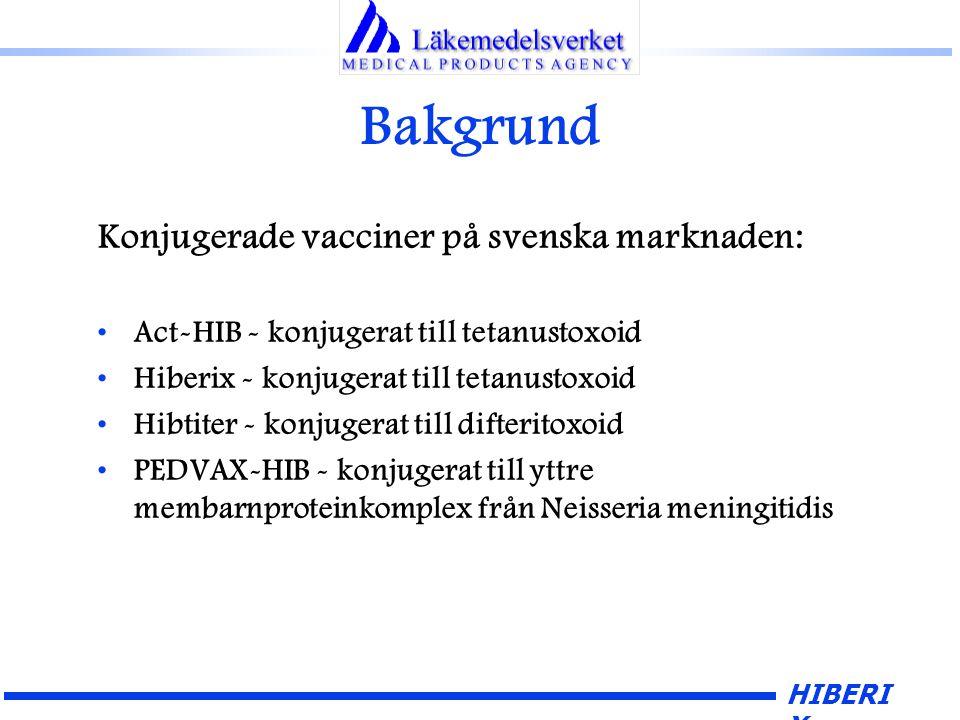 HIBERI X Bakgrund Konjugerade vacciner på svenska marknaden: Act-HIB - konjugerat till tetanustoxoid Hiberix - konjugerat till tetanustoxoid Hibtiter - konjugerat till difteritoxoid PEDVAX-HIB - konjugerat till yttre membarnproteinkomplex från Neisseria meningitidis
