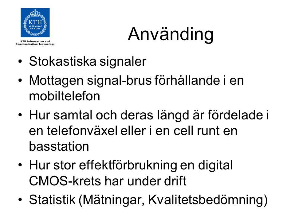 Använding Stokastiska signaler Mottagen signal-brus förhållande i en mobiltelefon Hur samtal och deras längd är fördelade i en telefonväxel eller i en