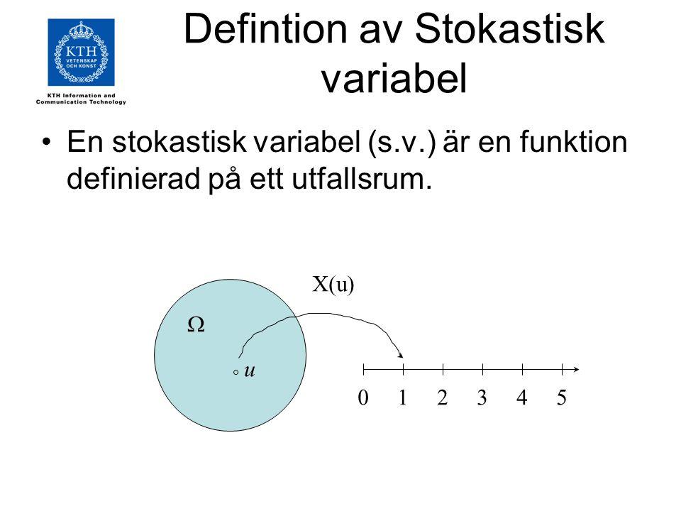 Defintion av Stokastisk variabel En stokastisk variabel (s.v.) är en funktion definierad på ett utfallsrum.  012345 u X(u)
