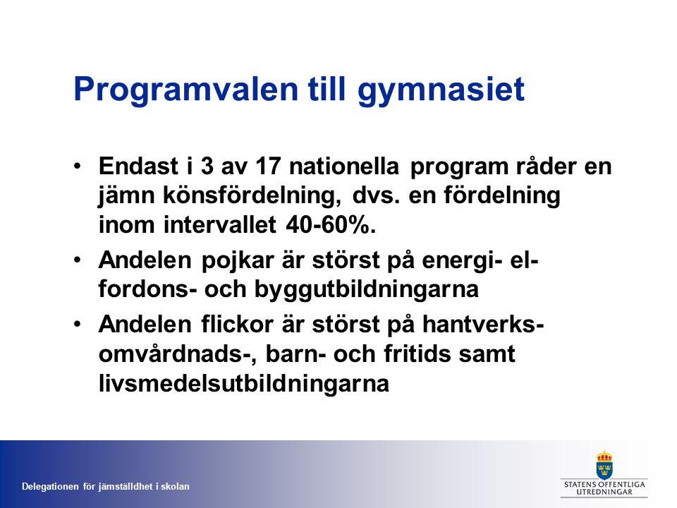 Delegationen för jämställdhet i skolan Genomsnittliga betygsskillnader i årskurs 9 Betygsskillnaden till flickornas fördel är störst i bild, hem- och konsumentkunskap samt svenska.