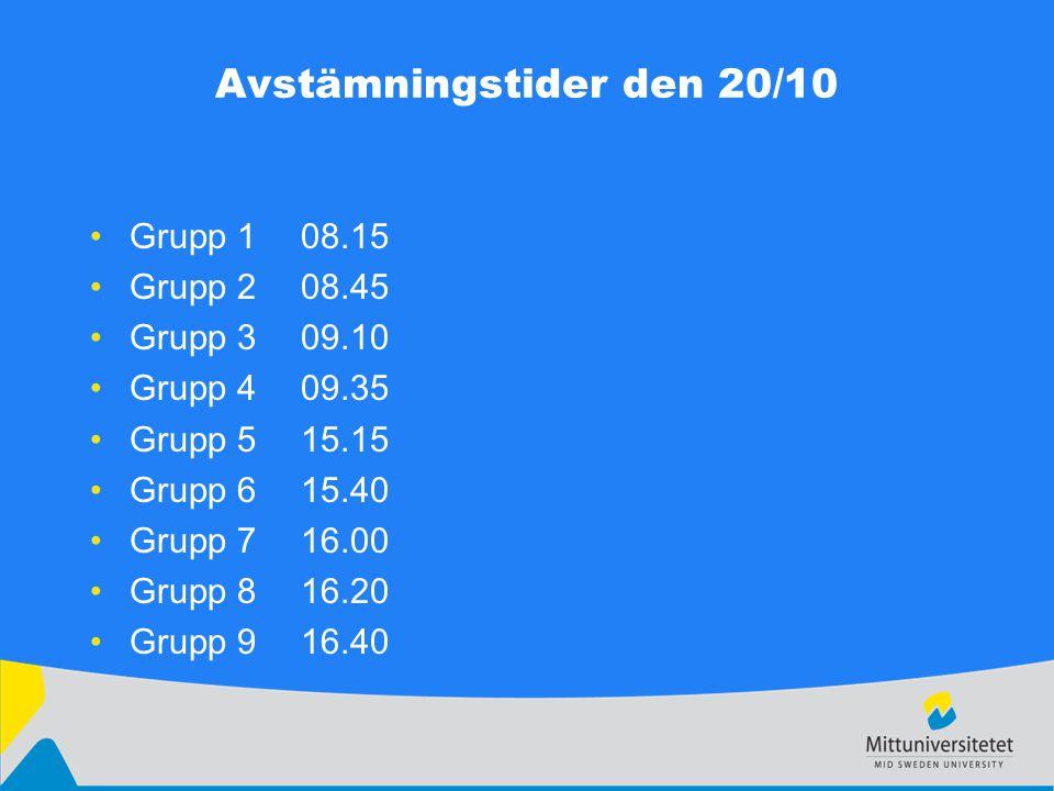 Avstämningstider den 20/10 Grupp 108.15 Grupp 208.45 Grupp 309.10 Grupp 409.35 Grupp 515.15 Grupp 615.40 Grupp 716.00 Grupp 816.20 Grupp 916.40