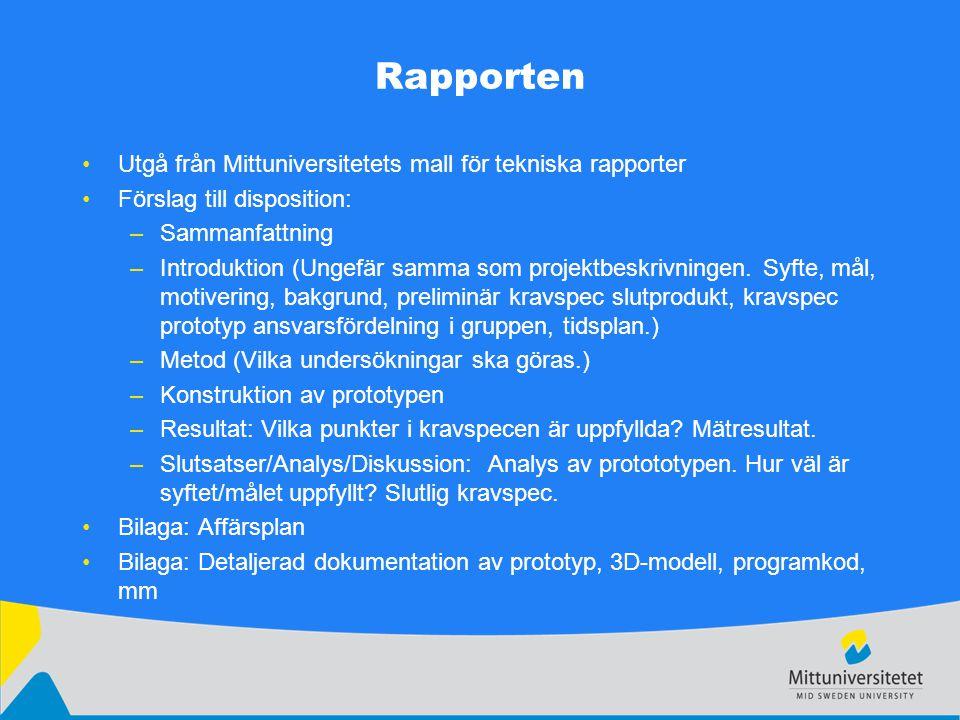 Rapporten Utgå från Mittuniversitetets mall för tekniska rapporter Förslag till disposition: –Sammanfattning –Introduktion (Ungefär samma som projektbeskrivningen.