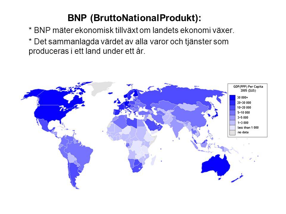 BNP (BruttoNationalProdukt): * BNP mäter ekonomisk tillväxt om landets ekonomi växer. * Det sammanlagda värdet av alla varor och tjänster som producer