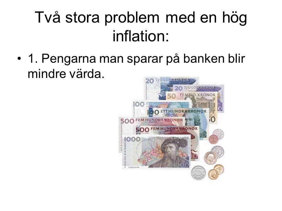 Två stora problem med en hög inflation: 1. Pengarna man sparar på banken blir mindre värda.