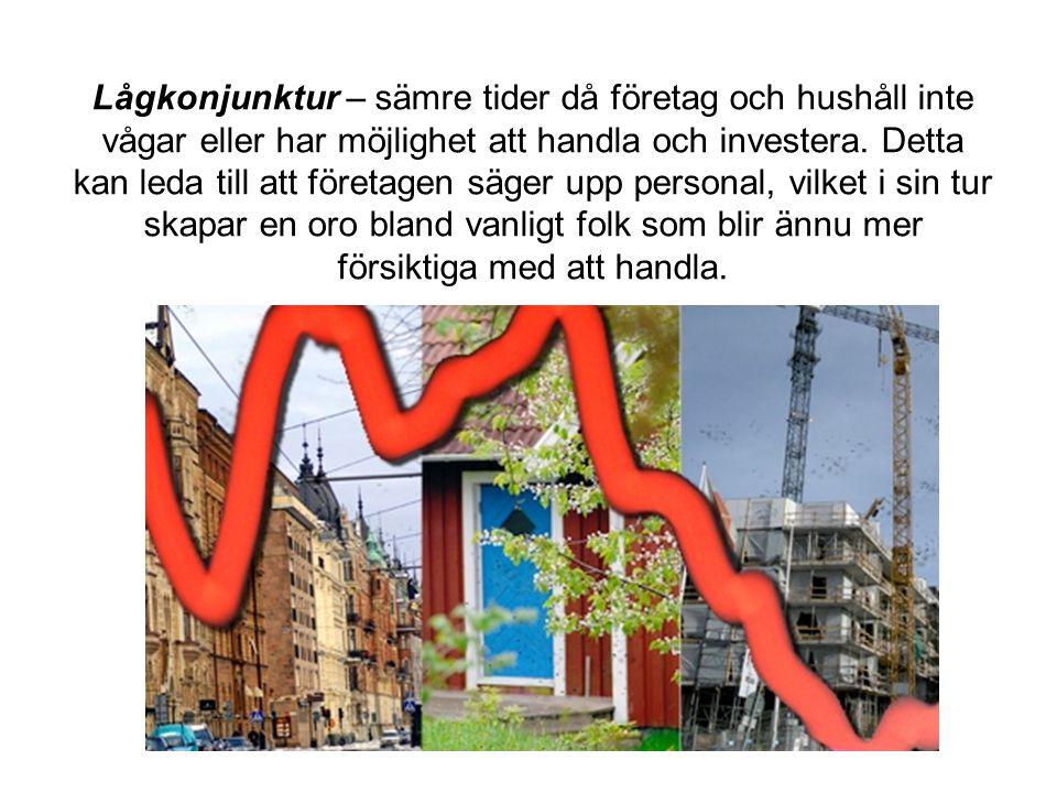 Lågkonjunktur – sämre tider då företag och hushåll inte vågar eller har möjlighet att handla och investera. Detta kan leda till att företagen säger up