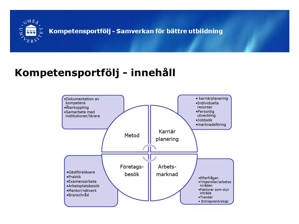 Kompetensportfölj - innehåll Kompetensportfölj - Samverkan för bättre utbildning