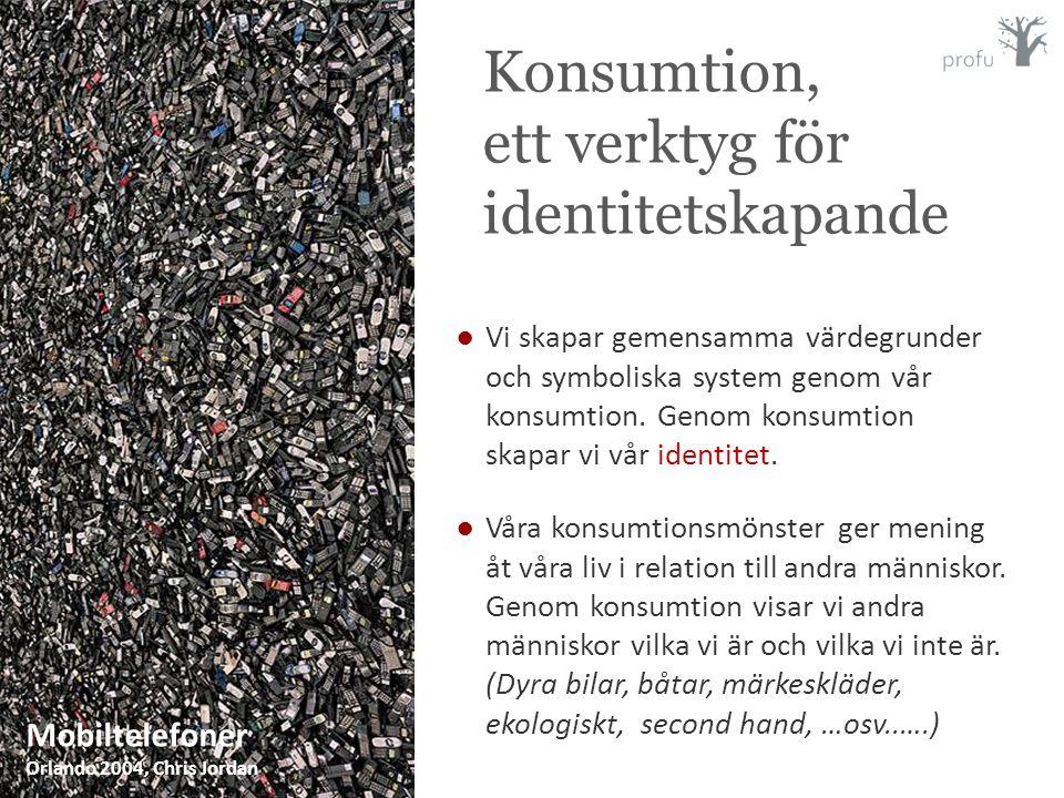 ●Vi skapar gemensamma värdegrunder och symboliska system genom vår konsumtion. Genom konsumtion skapar vi vår identitet. ●Våra konsumtionsmönster ger