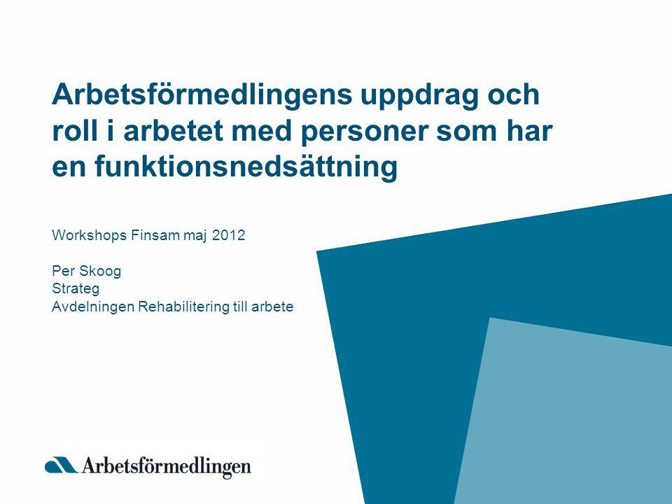 Arbetsförmedlingens uppdrag och roll i arbetet med personer som har en funktionsnedsättning Workshops Finsam maj 2012 Per Skoog Strateg Avdelningen Re