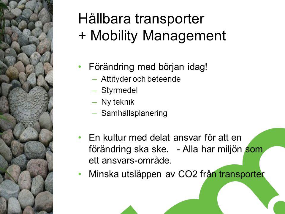 Hållbara transporter + Mobility Management Förändring med början idag.