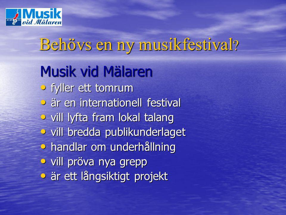 Behövs en ny musikfestival ? Musik vid Mälaren fyller ett tomrum fyller ett tomrum är en internationell festival är en internationell festival vill ly