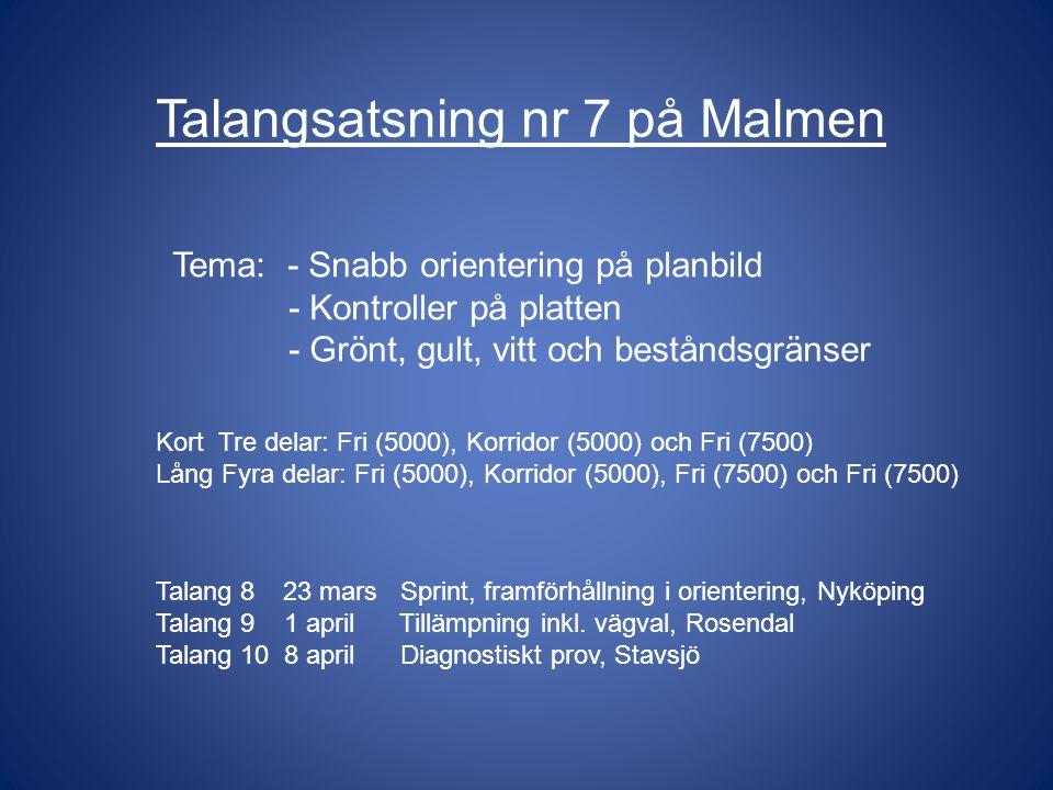 Talang 8 23 mars Sprint, framförhållning i orientering, Nyköping Talang 9 1 april Tillämpning inkl.