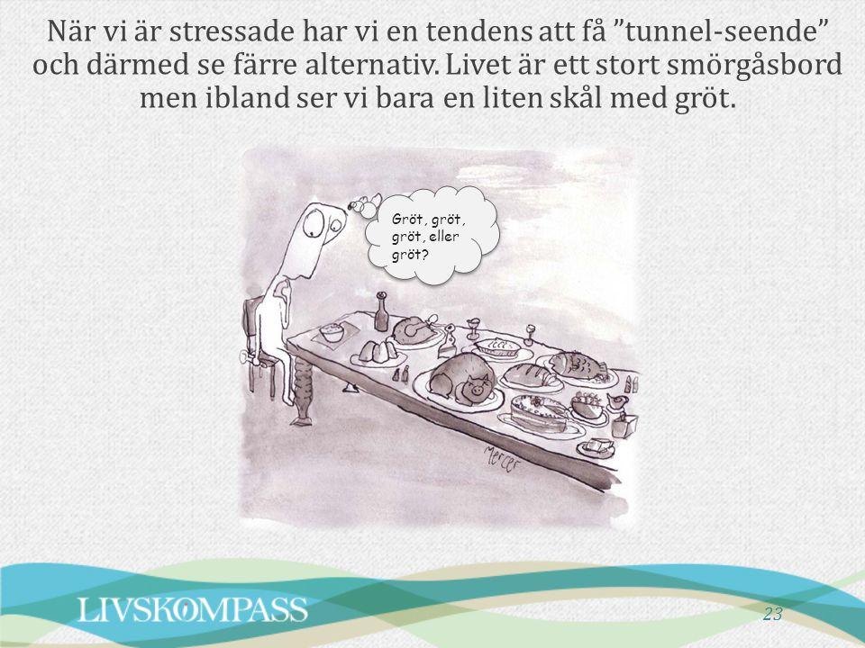"""23 När vi är stressade har vi en tendens att få """"tunnel-seende"""" och därmed se färre alternativ. Livet är ett stort smörgåsbord men ibland ser vi bara"""