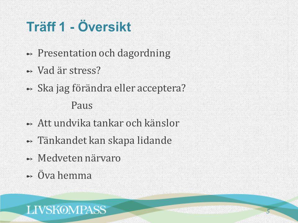 5 Träff 1 - Översikt ➻ ➻ Presentation och dagordning ➻ ➻ Vad är stress? ➻ ➻ Ska jag förändra eller acceptera? Paus ➻ ➻ Att undvika tankar och känslor
