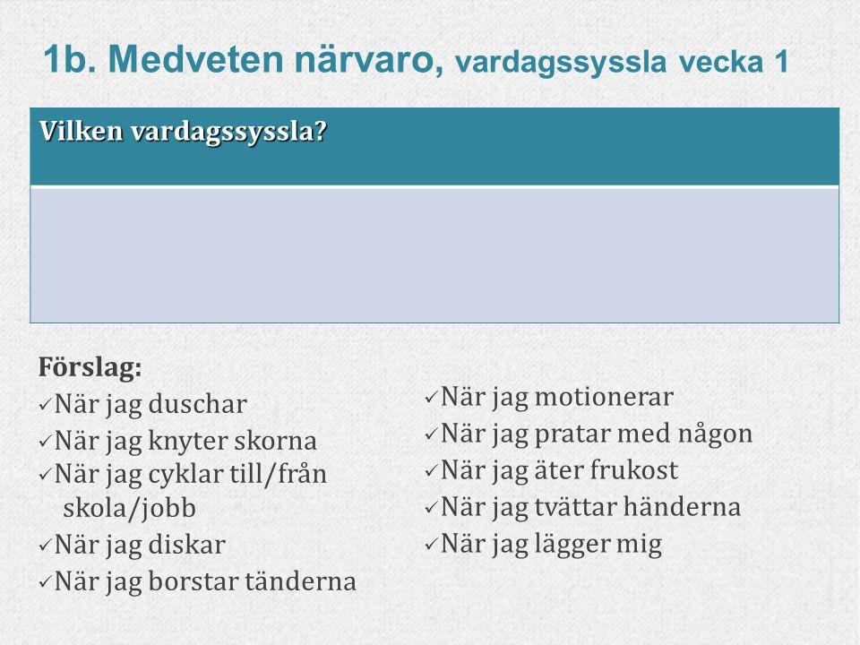84www.livskompass.se 1b. Medveten närvaro, vardagssyssla vecka 1 Förslag: När jag duschar När jag knyter skorna När jag cyklar till/från skola/jobb Nä
