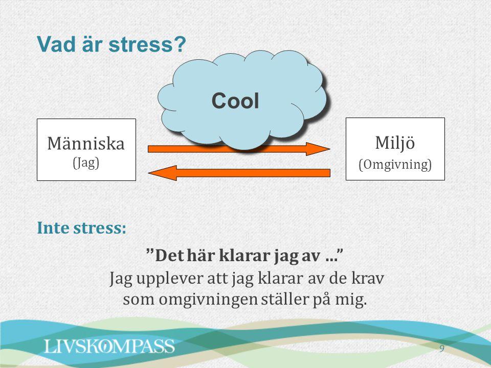 """9 Vad är stress? Inte stress: """"Det här klarar jag av …"""" Jag upplever att jag klarar av de krav som omgivningen ställer på mig. Människa (Jag) Miljö (O"""