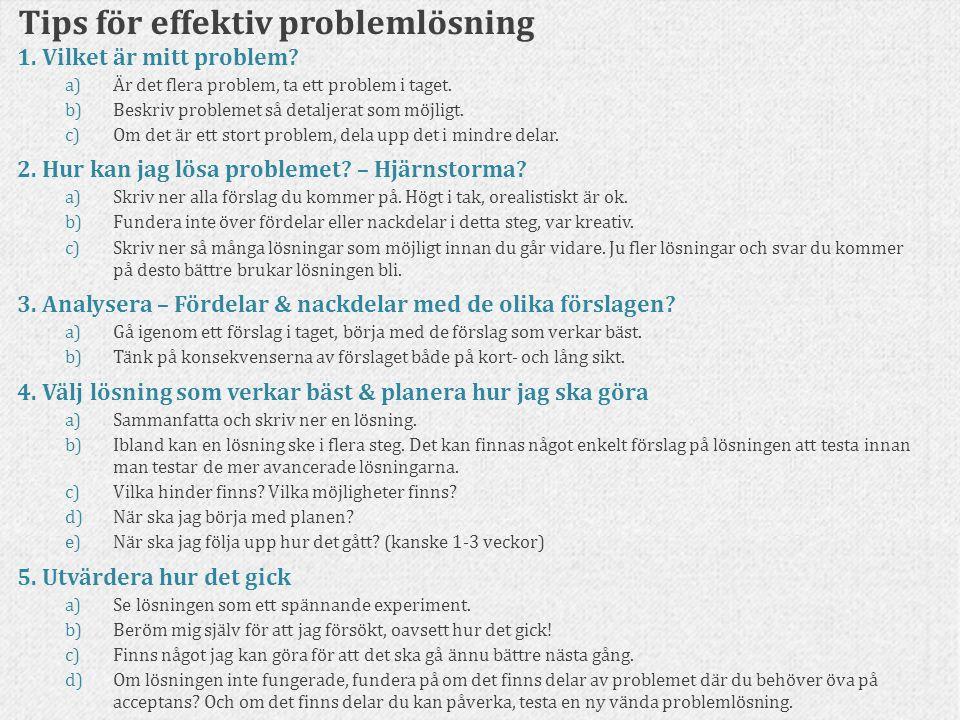 Tips för effektiv problemlösning 1. Vilket är mitt problem? a)Är det flera problem, ta ett problem i taget. b)Beskriv problemet så detaljerat som möjl