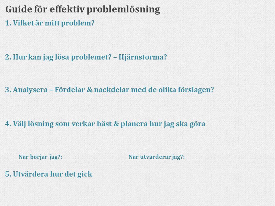 Guide för effektiv problemlösning 1. Vilket är mitt problem? 2. Hur kan jag lösa problemet? – Hjärnstorma? 3. Analysera – Fördelar & nackdelar med de