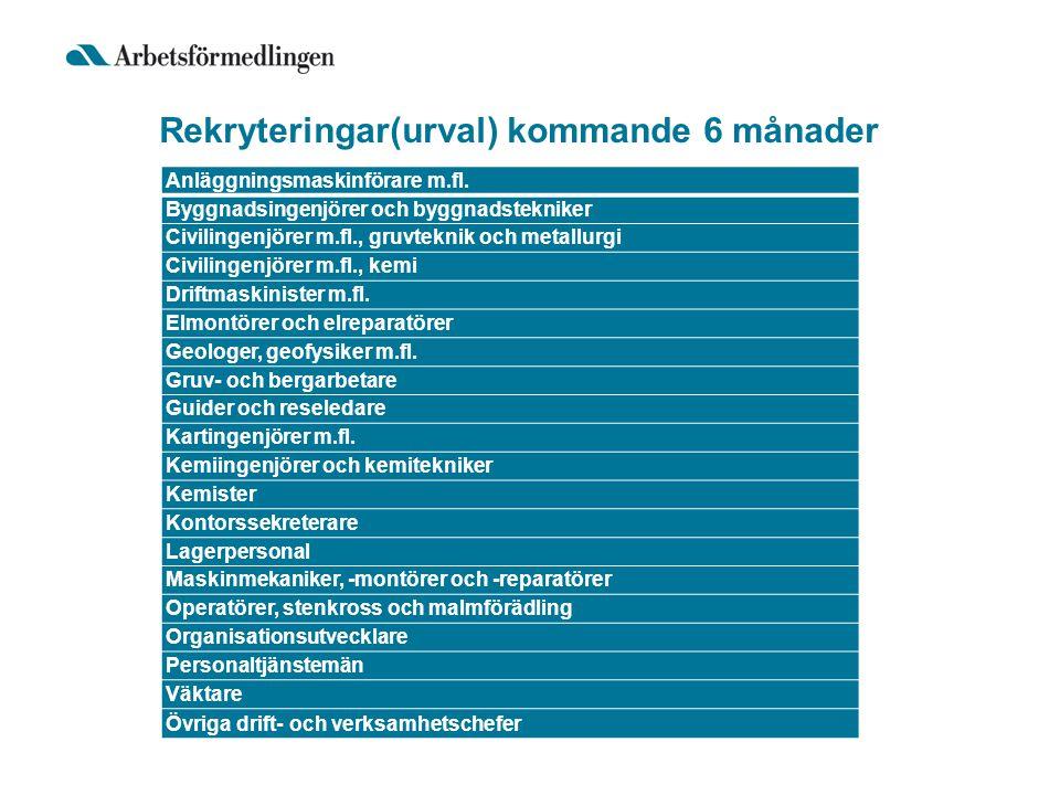 Rekryteringar(urval) kommande 6 månader Anläggningsmaskinförare m.fl.